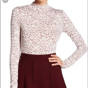 Free People Womens Mock Blouse Top